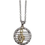 Aim N497 Necklace G Clef Staff 2 Tone Silver Chain