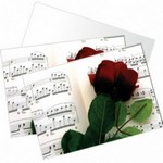Music Gift RN04 Note Cards - Rose & Music