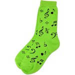 Aim AIM10016 Neon Green Socks with Black Notes - Ladies 9-11
