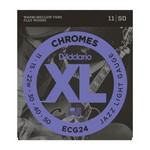 D'Addario ECG24 Chromes Flat Wound Electric Guitar Strings, Jazz Light, 11-50