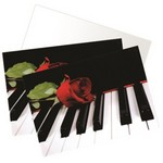 Music Gift RN01 Note Cards - Piano W/rose